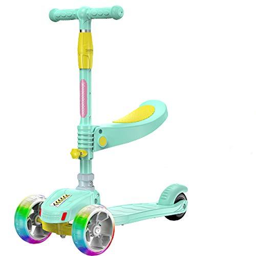 3 Ruedas Kick Scooter, Altura Ajustable, Asiento móvil, con Extra Ancho Ruedas de la PU, para niños de 2 a 5 años de antigüedad,Verde