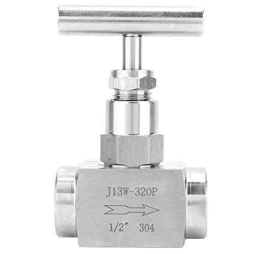 """Válvula de aguja recta de acero inoxidable, válvula de aguja recta de rosca hembra BSPP de alta presión, buen sellado y sin fugas, para regulación de flujo, aplicable a agua, gas, aceite (1/2"""")"""