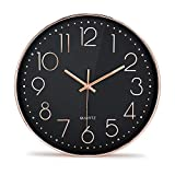 Moksha 12 Inch Modern Wall Clock Silent Non Ticking Easy to Read Decorative Wall Clocks for Living Room Decor Home Office Kitchen (Black Rose)