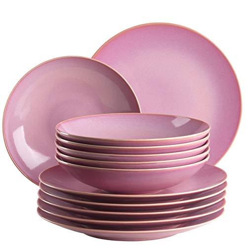 MÄSER Ossia 931732 - Servizio da tavola per 6 persone in stile vintage mediterraneo, 12 pezzi con piatti fondi e piatti fondi in ceramica rosa