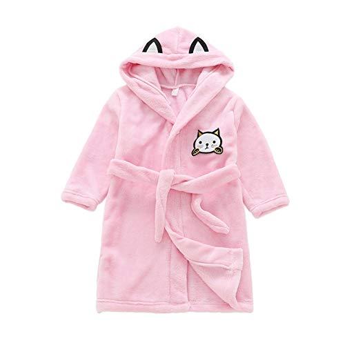 Miyanuby Peignoir Enfant Garçon/Fille Mignon Doux Chaud Toison Peignoir en Coton Capuche Pyjamas pour 3-8 Ans