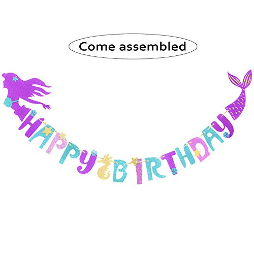 Mermaid Happy Birthday Banner, Favor Mermaid Theme Party Decoration Supplies For Kids, Magical Sparkle Glitter banner for Under the Sea Party Decor