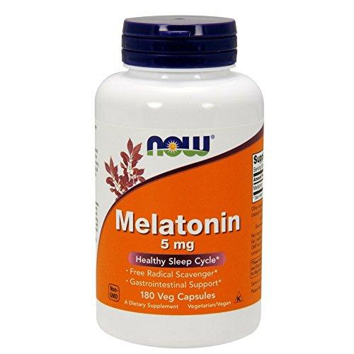NOW Supplements, Melatonin 5 mg, Free Radical Scavenger*, Healthy Sleep Cycle*, 180 Veg Capsules