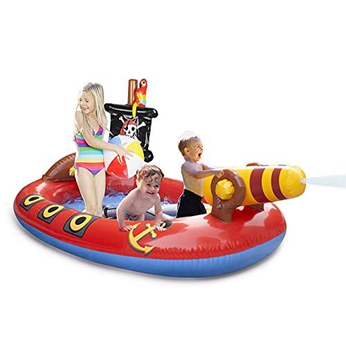 "AMOSTING 75"" Inflatable Kiddie Pool Sprinkler-Splash Pad for Kids Pool, Pirate Ship Swimming Pool Summer Outdoor Water Toys for Kids Ages 2 3 4 5 6 7 8 Toddler Boys Girls Baby Pool Backyard Garden"