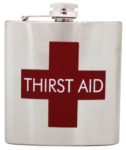 Island Dogs Thirst Aid Flask, Silver