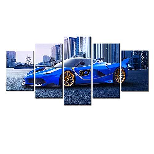 WJY WJYPintura en Lienzo, Arte Modular con impresión HD, 5 Piezas, Coche Deportivo Azul, imágenes de Ferrari, póster de Pared Decorativo para el hogar, 30x50cmx2 30x70cmx2 30x80cmx1 Sin Marco