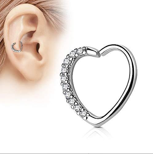 Helix piercing Hartje met Wit Kristal