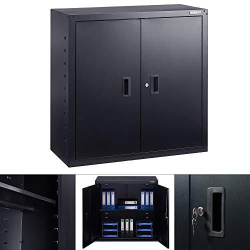 AREBOS Aktenschrank Büroschrank | Schwarz | 90 x 40 x 90 cm | 2 Türen | Höhenverstellbarer Einlegeboden | mit Zylinderschloss
