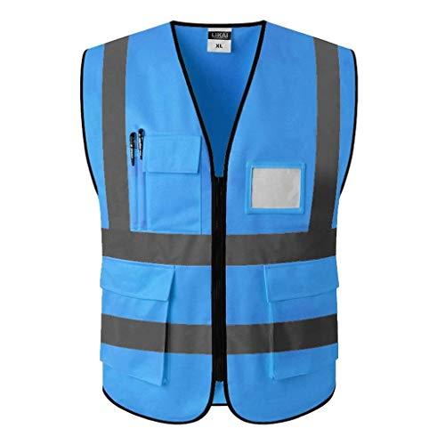 Veiligheidsvest Reflecterende kleding Veiligheidsvesten Regenjas Reflecterende veiligheid Kleding Zichtbaarheid Taillejas Bouwplaats Fluorescerende veiligheid Reflecterende Vest (Kleur: Blauw, Maat : L)