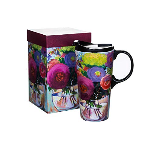 Ceramic Coffee Cup Travel Car Mug 17 OZ. with Color Box and Lid
