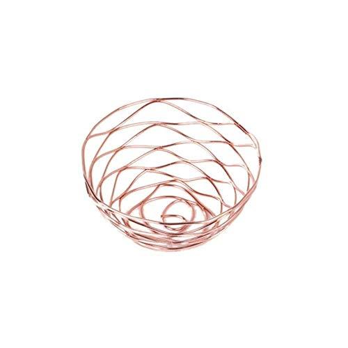 Amn Canasta de Almacenamiento de Hierro Frutero Dorado Canasta de Metal con Forma de Rosa Dorada Canasta de Pan, Oro Rosa
