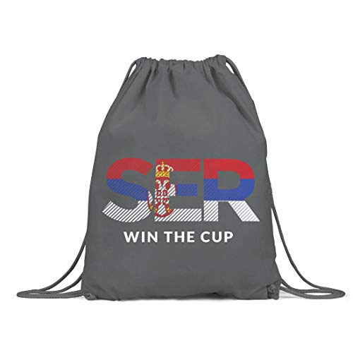 BLAK TEE Serbia Will Win The Football Cup Organic Cotton Drawstring Gym Bag Grey
