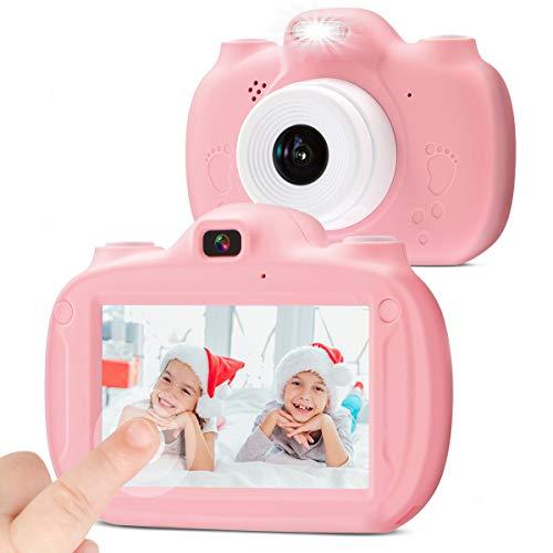 Kinderkamera Digital-Selfie Digitalkamera für Kinder, 3 Inch HD Touch Videokamera Stoßfeste Wiederaufladbare Camcorder für Jungen Mädchen Geschenke(Rosa)