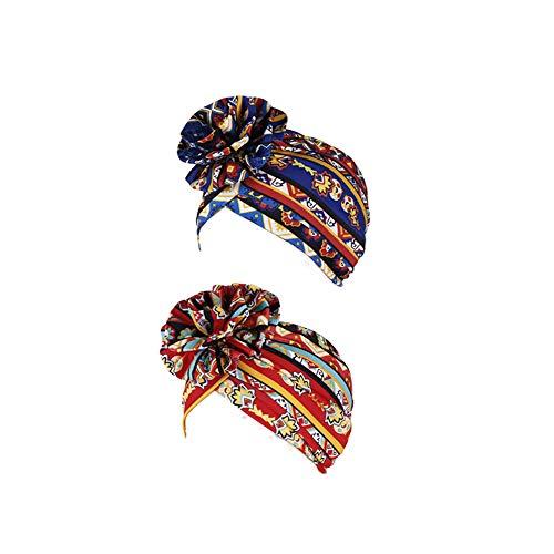AuroTrends Vorgebundener Turban-Chemo-Hut, Blumenturban, 2er-Pack, elastische Kopfbedeckung, Schlafmütze, Haarausfall-Kappen - - Einheitsgröße