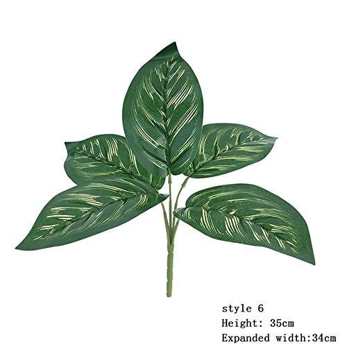 XGP - Hierba artificial falsa 5 hojas de hierba pequeña para decoración de mesa y bonsai, Estilo 6.