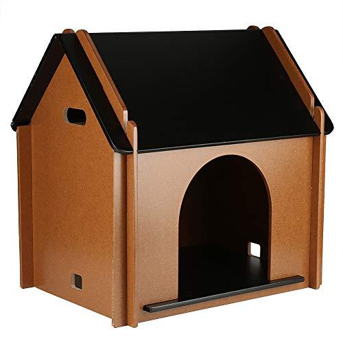 EBTOOLS Casa de madera para animales de compañía, perro o gato, extraíble creativa, caseta de perro, caseta para mascotas, para interior, 51 x 38 x 52 cm