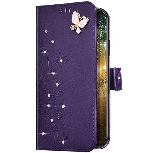Uposao Kompatibel mit Samsung Galaxy A01 Hülle Glitzer Bling Strass Diamant Schmetterling Handyhülle Brieftasche Schutzhülle Leder Tasche Wallet Flip Case Cover Klapphülle Kartenfach,Lila
