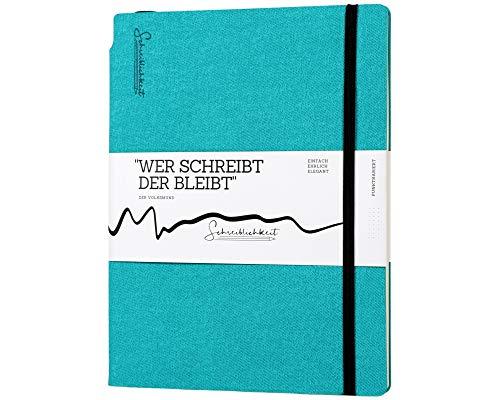 Notizbuch/Bullet Journal - B-Ware - B5 / Tablet Format - Versteckter Stifthalter - Das Notebook für Bleiber - 160 Seiten - 100g/qm - gepunktet - Softcover (Ozeangrün)