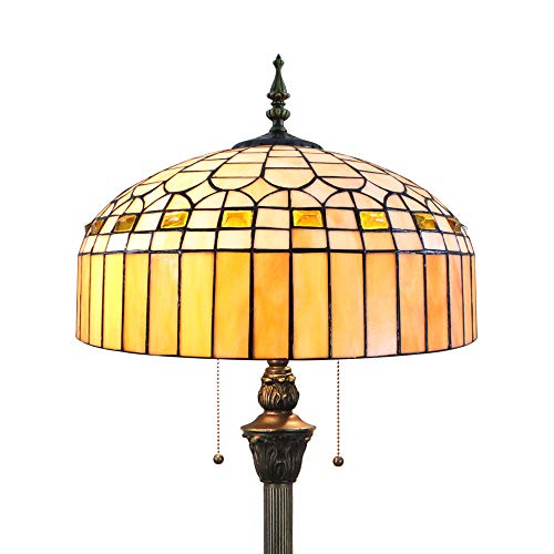 Tokira Tiffany Woonkamer Vloerlamp, Eenvoudige Stijl Gebrandschilderde Lampenkap, Handgemaakte Amber Antieke Grote Leeslamp, 64 Inch Hoog