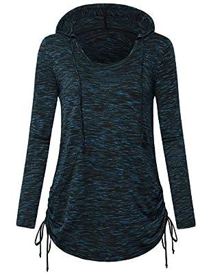 FANSIC Women's Burnout Color Lightweight Pullover Sweatshirt Hoodie with Kangaroo Pocket