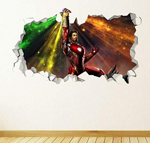 TRB muur StickersMuursticker ingeslagen 3d sticker art avenger van iron man oneindige stenen handschoenen