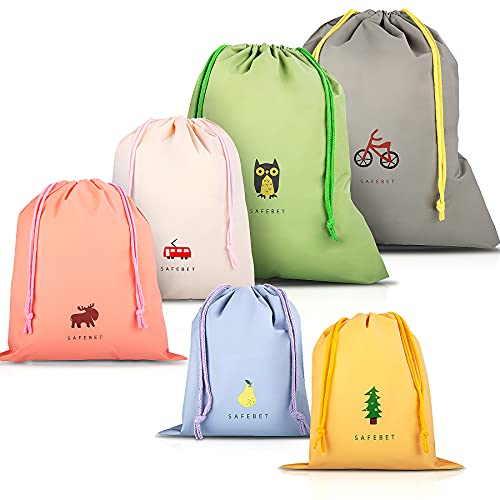 KidsPark 6 Pcs Bolsa de Cuerdas Impermeable, Saco de Deporte Bolsas Cordon de Gimnasio para Playa Viaje Natación Gymsack Infantil Bolsas de Almacenamiento Organización de Cocina