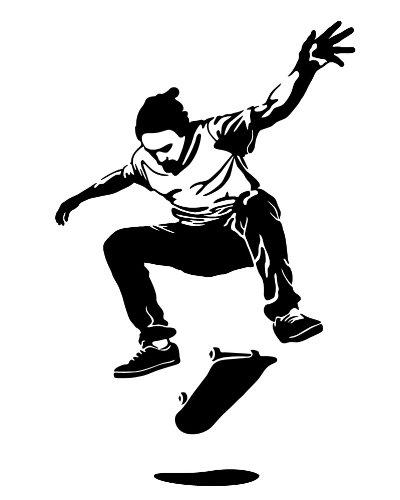 Wandtattoo Wandaufkleber Skater #118A schwarz 60cm x 93cm (RAL9005) VERSANDKOSTENFREI!