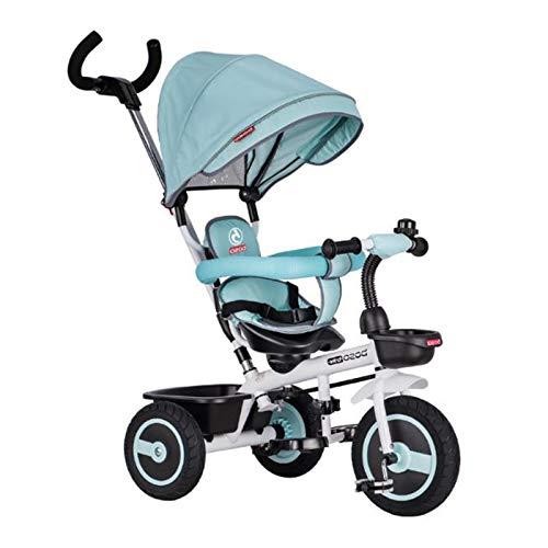 MYANG Steer Und Schlendern Trike, Blau Außenkleinkind Tricycle für Ages 2-5, Kleinkind Balancen-Fahrrad,Blau