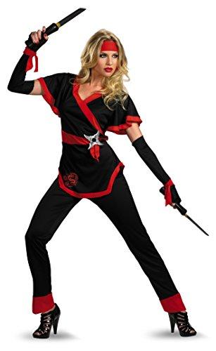Disguise Women's Ninja Dragon Costume, Black/Red, Small