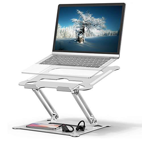 Laptop Ständer, Geirstey Höhenverstellbar Alulegierung Notebook Ständer mit Heat-Vent, für Laptop (11-17 Zoll) MacBook, Surface, Dell, Lenovo, Samsung, Huawei, HP- Silber