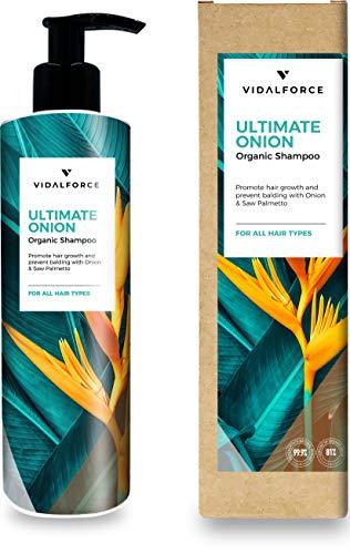 ULTIMATE ONION Champu cebolla con 22 Activos Naturales y Ecológicos - Cargados de vitaminas para el cabello y aceites esenciales naturales. Champu anticaida mujer / hombre I Crecimiento cabello I