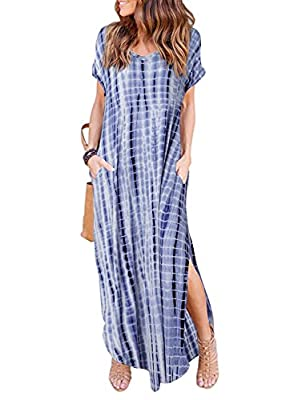HUSKARY Womens Casual Pocket Beach Long Dress Short Sleeve Split Loose Maxi Dress, Tie-Dye, Small