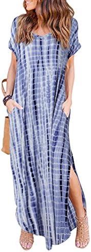 HUSKARY Womens Casual Pocket Beach Long Dress Short Sleeve Split Loose Maxi Dress Tie Dye Large product image