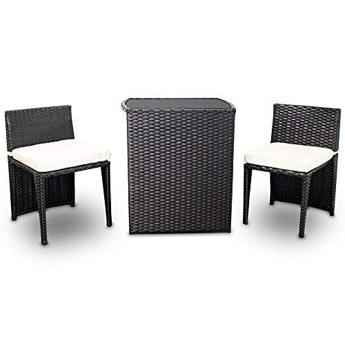 MS Point 3tlg Poly Rattan Sitzgruppe Bistro Gartenmöbel Bistro Lounge Terasse Balkon Tisch Stühle Set (Schwarz)