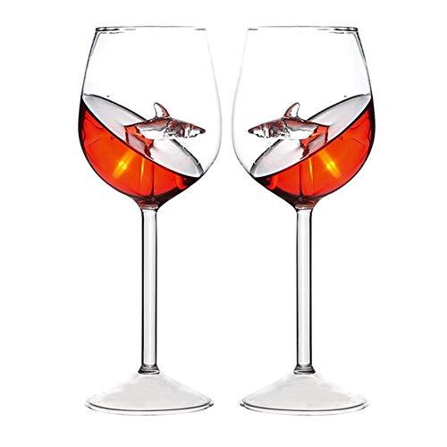 2 Piezas Copa de Vino de Cristal de tiburón de Novedad Fina Copa de Vino Tinto Copa de Vidrio Transparente 300 ml para Fiestas de restaurantes en casa