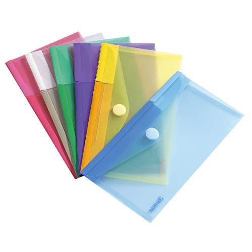 Tarifold Tarifold T-collection Dokumententasche / Plastik Mappe mit Klettverschluss für DIN-lang (M65) - 6 Stk. Farbig Sortiert (Blau, Lila, Grün, Gelb, Rosa, Transparent) - 510279