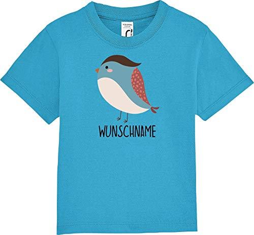 Kleckertegel baby kinderen T-shirt korte mouwen spreuken jongens meisjes shirt Nicki met opdruk dieren vogel spat gewenste naam