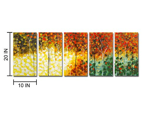 Mon Kunst 100% Hand Painted Wood Framed 5-piece Hot sale Modern Colorful Garden leaves for Abstract oil Paintings Gift canvas Wall Art Paintings for Living Room