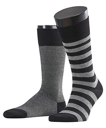 ESPRIT Herren Socken Piqué Stripe - Baumwollmischung, 2 Paar, Schwarz (Black 3000), Größe: 43-46