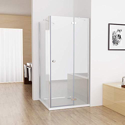 MIQU 90x75cm Duschkabine Eckig Dusche mit 75cm Seitenwand ESG Glas