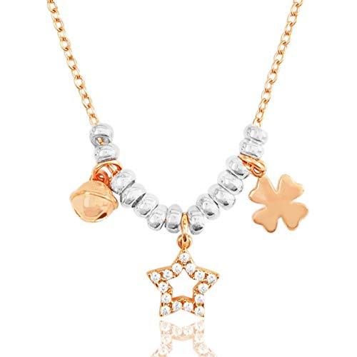 ViMon gioielli|COLLANA in ARGENTO 925 placcato ORO ROSA,con ciondoli:campanellino,stella,quadrifoglio.Lunghezza Catenina SU MISURA