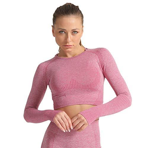 SotRong Damen-Shirt, modisch, mit Lochmuster, für Workout, Fitness-Studio, langärmliges Yoga-T-Shirt, sportliches Outfit Gr. Asiatisch Small, Weinrot -1