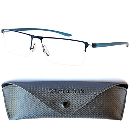 Halbbrille Lesebrille mit rechteckigen Gläsern, GRATIS Brillenetui, Leichten Edelstahl Rahmen (Dunkelblau sieht aus wie Schwarz), Lesehilfe Herren und Damen +1.0 Dioptrien