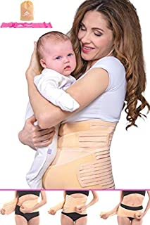 Postpartum Belly Wrap 3 in 1 Support Recovery Band Set Waist, Pelvis Belt - Body Shaper Trainer - Postnatal Shapewear Tummy Cinch - C Section Girdle, Corset - Post Pregnancy Posture |Watch Video| (L)