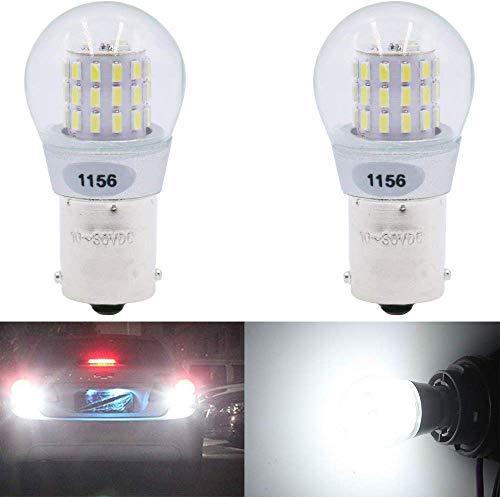 Paquete de 2 - 1156 BA15S 1141 1003 7506 1073 Luz LED blanca 9-30V-DC, 39 SMD para bombillas de reversa para interior RV Camper