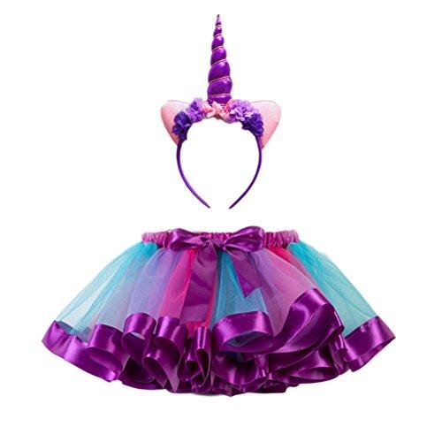 BESTOYARD Disfraz de Falda de Ballet Rainbow para Niñas para Fiesta de Dama Performance Dacing Performance Unicorn Headwear Set de Falda de Arco Iris de Media Longitud (Morado)