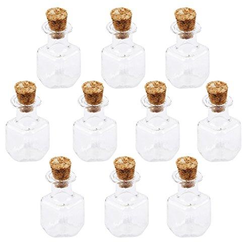Mini Botella de Corcho Cubos Vasos de Cristal Cuadrada Largo Desean Botella Amor Nota 10pc