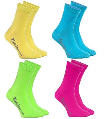 Rainbow Socks - Jungen und Mädchen Bunt Socken Baumwolle - 4 Paar Multipack - Gelb Türkis Grün Rosa - Größen 30-35