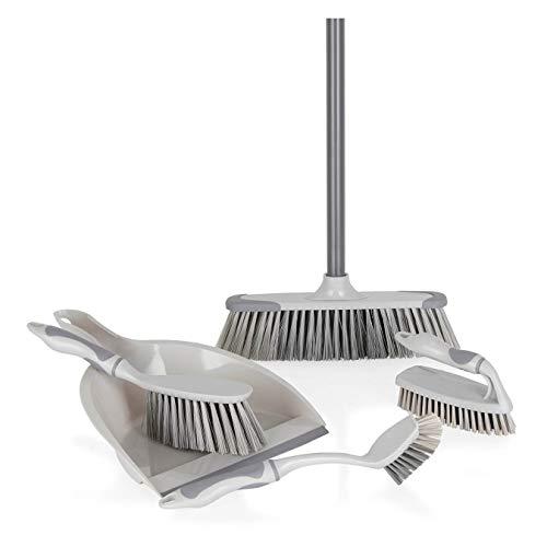 Our House SR22033 5-delige reinigingsset, scruber, lange handbediende scrubber, stofpan en borstel en bezem, grijs, 1