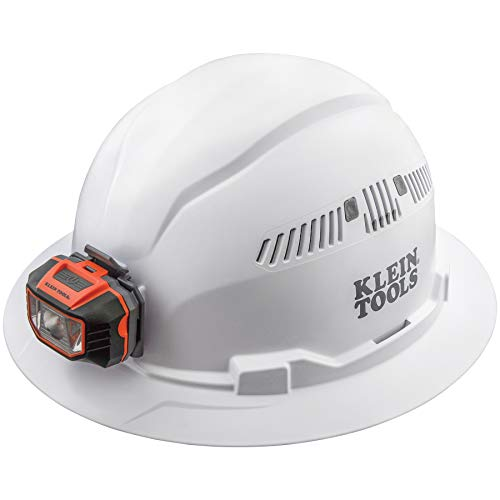 Klein Tools 60407 Hard Hat, Light, Vented Full Brim Style, Padded, Self-Wicking Odor-Resistant Sweatband, White